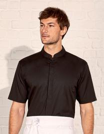 Men`s Tailored Fit Bar Shirt Mandarin Collar Short Sleeve