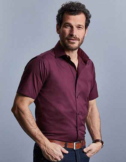 Men`s Short Sleeve Fitted Stretch Shirt